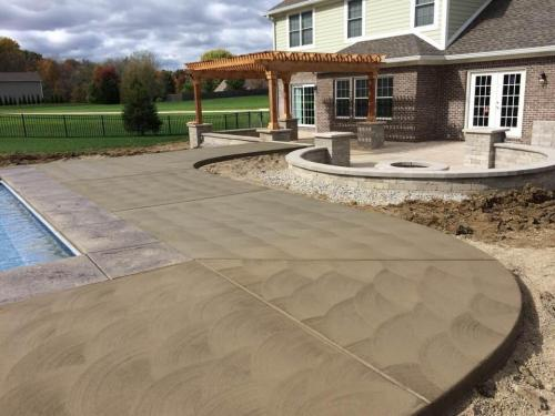 Concrete patio pool deck