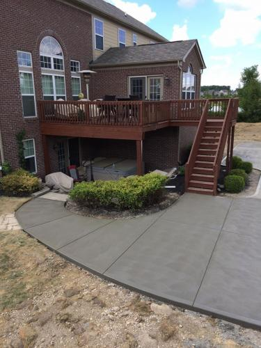 brushed concrete patio in Indianapolis In
